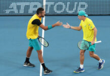 Alex de Minaur and Nick Kyrgios in action at the ATP Cup