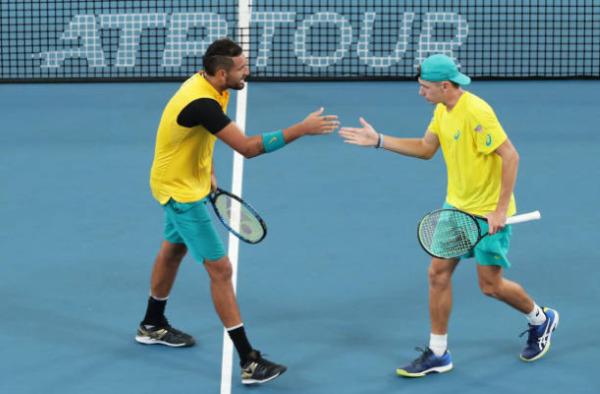 Alex de Minaur and Nick Kyrgios in action at the ATP Cup