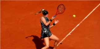 Eugenie Bouchard in action at the WTA Prague Open
