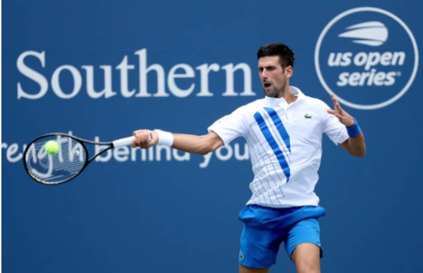 Novak Djokovic in action at the Cincinnati Masters