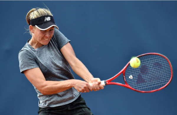 Fiona Ferro in action at the WTA Palermo Ladies Open