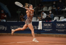 Camila Giorgi in action at the WTA Palermo Ladies Open