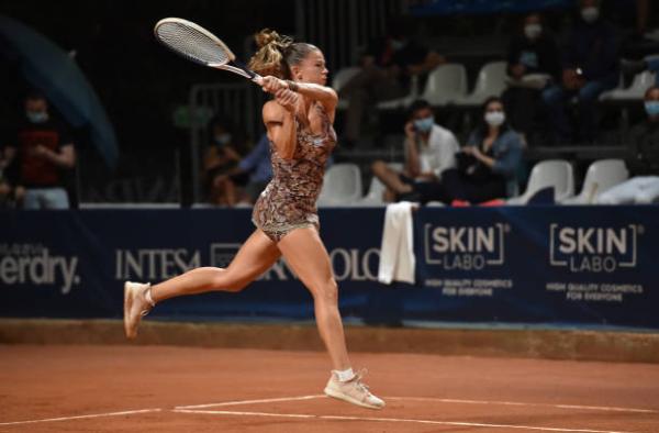 Camila Giorgi in action at the WTA Palermo Ladies Open