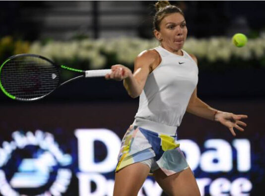 Simona Halep in action at the WTA Prague Open