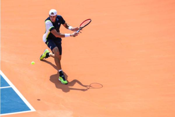 John Isner in action ahead of the Cincinnati Masters