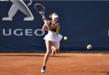Anett Kontaveit in action at the WTA Palermo Ladies Open
