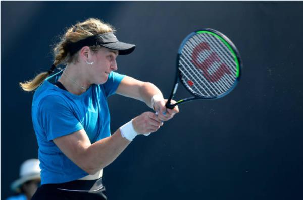 Liudmila Samsova in action at the WTA Palermo Ladies Open