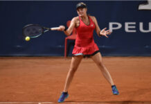 Dayana Yastremska in action at the WTA Prague Open