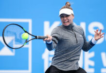 Vera Zvonareva in action at the WTA Lexington Top Seed Open