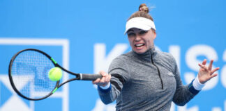 Vera Zvonareva in action at the WTA Lexington Top Seed Open