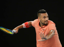 Nick Kyrgios in action at the Australian Open