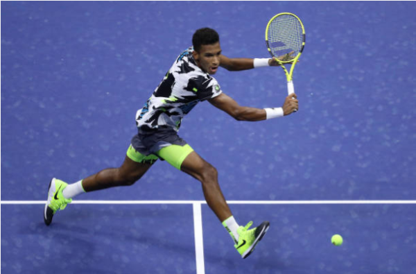 Felix Auger-Aliassime in action at the US Open