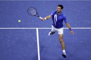 Novak Djokovic in action at the US Open