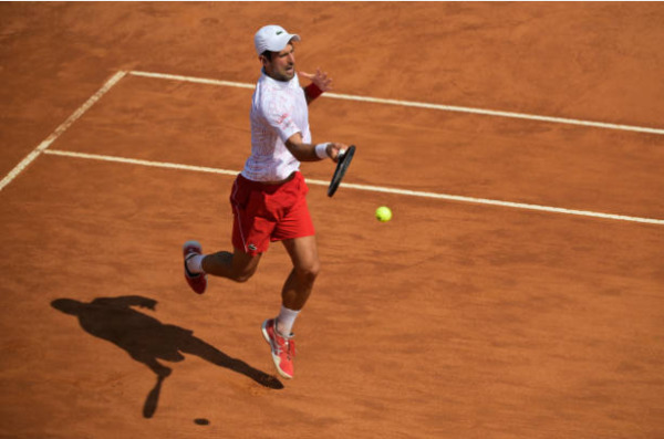 Novak Djokovic in action at the ATP Rome Masters