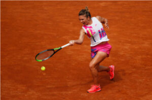 Simona Halep in action at the WTA Italian Open