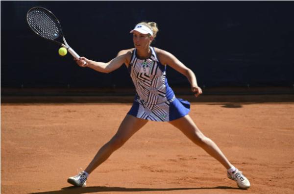 Elise Mertens in action ahead of the WTA Italian Open