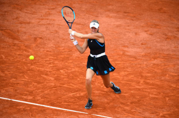 Kristina Mladenovic in action at the French Open