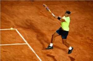 Rafael Nadal in action at the ATP Rome Masters