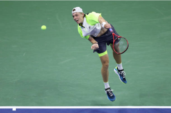 Denis Shapovalov in action at the US Open