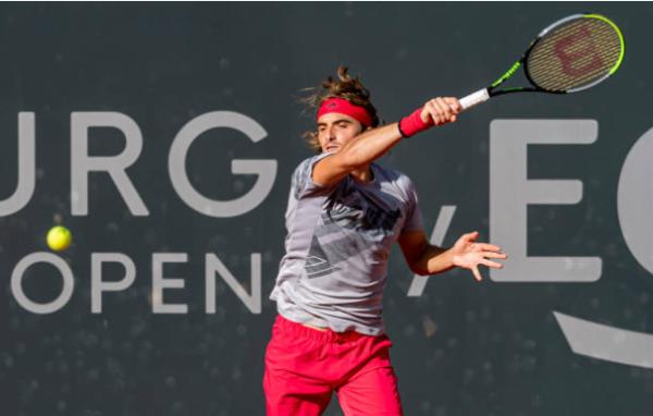Stefanos Tsitsipas in action at the ATP Hamburg Open