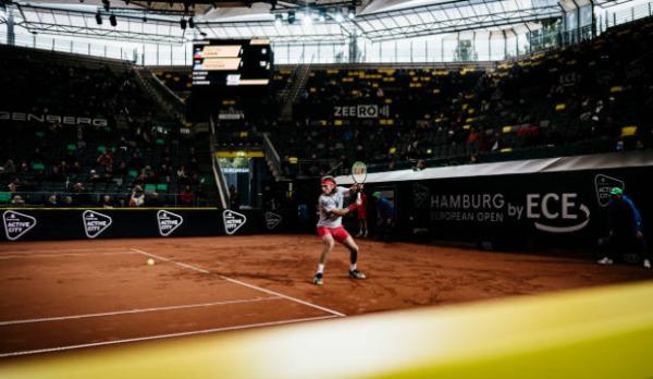 Stefanos Tsitsipas in action at the Hamburg European Open