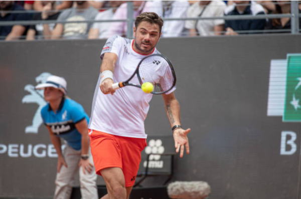 Wawrinka in action at the ATP Rome Masters