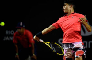 Carlos Alcaraz in action on the ATP Challenger Tour