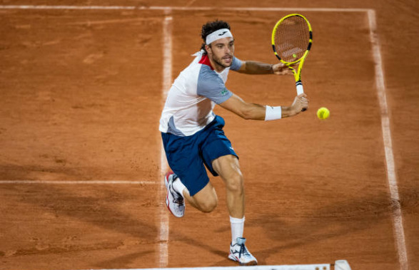 Marco Cecchinato in action at the ATP Sardinia Open