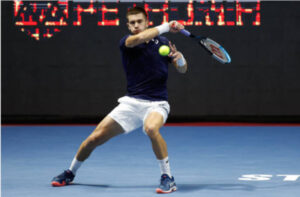 Borna Coric in action at the ATP St Petersburg Open