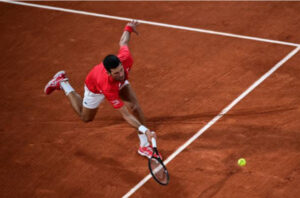 Novak Djokovic in action ahead of the French Open final