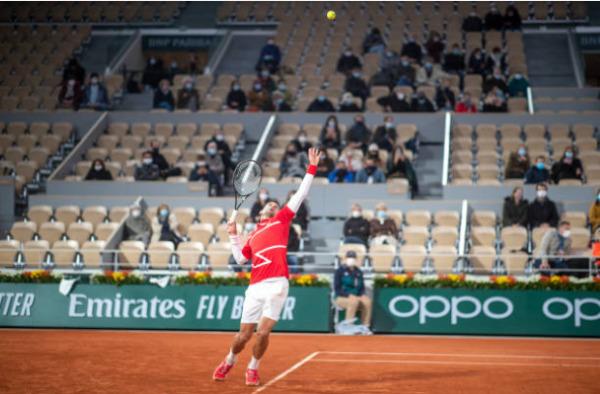 Novak Djokovic in action at Roland Garros
