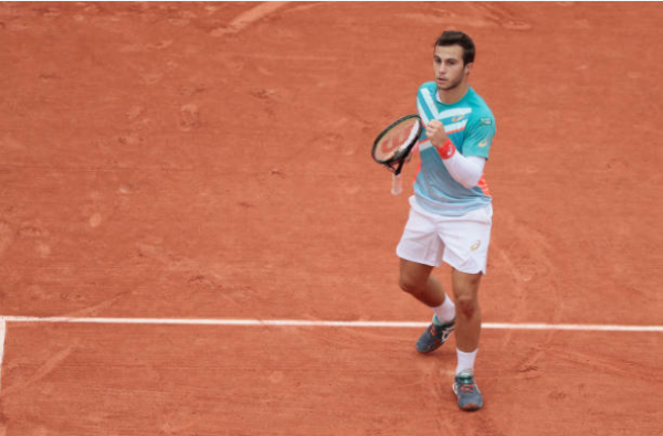 Hugo Gaston in action at the French Open