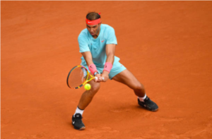 Rafael Nadal in action at the French Open at Roland Garros