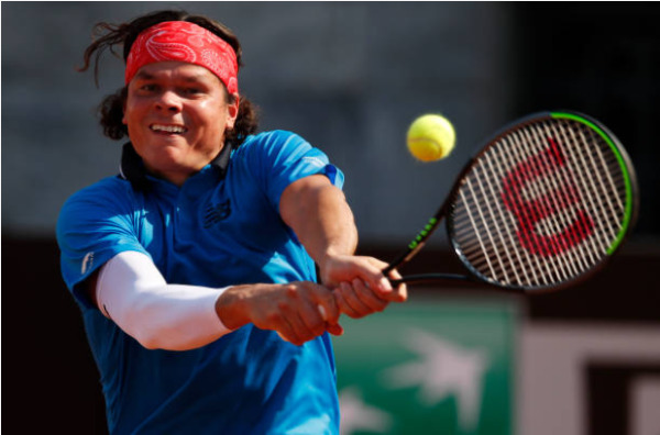 Milos Raonic in action ahead of the ATP St Petersburg Open
