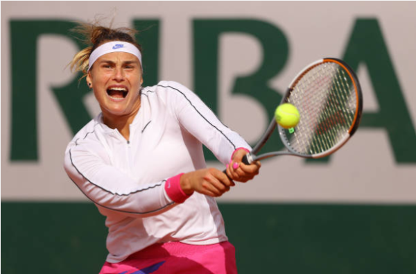 Aryna Sabalenka in action at the French Open