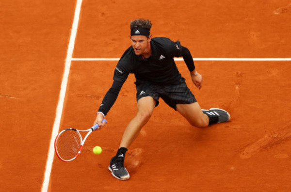 Dominic Thiem in action at the French Open