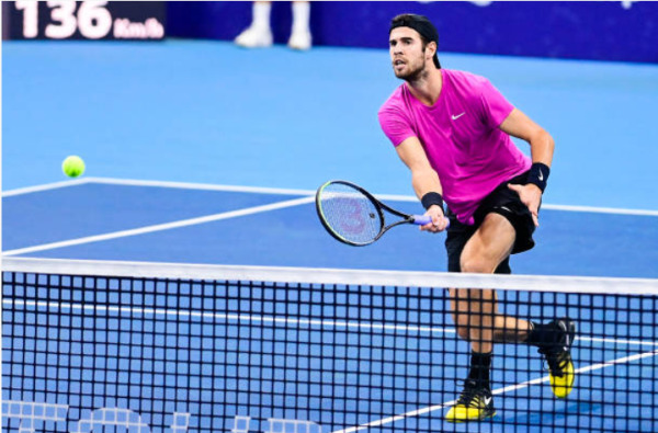 Karen Khachanov in action ahead of the ATP Paris Masters