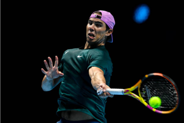 Rafael Nadal trains ahead of the ATP Finals