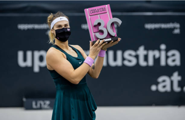 Aryna Sabalenka with the WTA Linz Open trophy