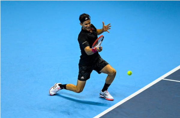 Dominic Thiem in action at the ATP Finals