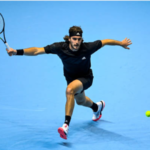 Stefanos Tsitsipas in action at the ATP Finals