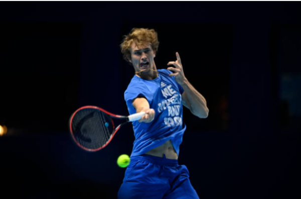 Alexander Zverev in action at the ATP Finals