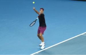 Roger Federer in action at the 2020 Australian Open