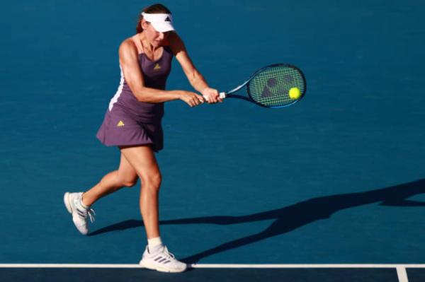 Kaja Juvan in action ahead of the WTA Gippsland Trophy