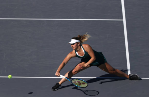 Marta Kostyuk in action at the WTA Abu Dhabi Open