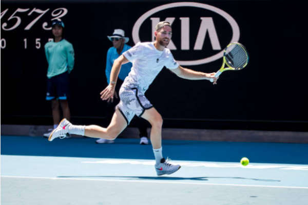 Adrian Mannarino in action ahead of the ATP Murray River Open