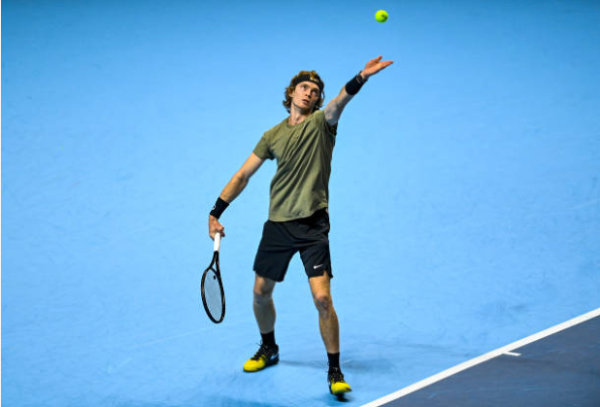 Andrey Rublev in action at the ATP Finals.