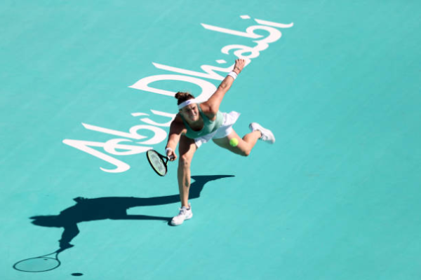 Aryna Sabalenka in action at the WTA Abu Dhabi Open