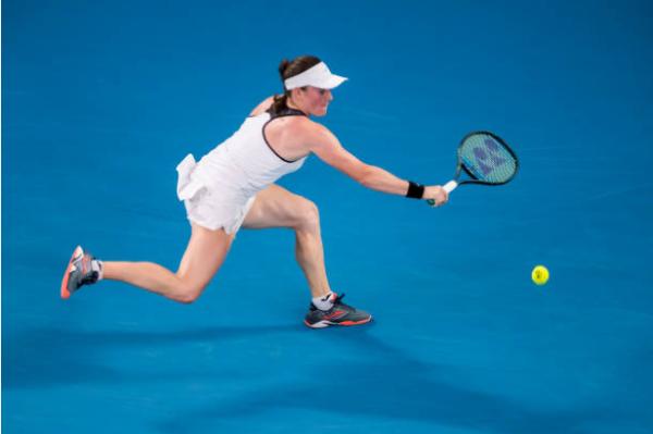 Tamara Zidansek in action ahead of the WTA Gippsland Trophy