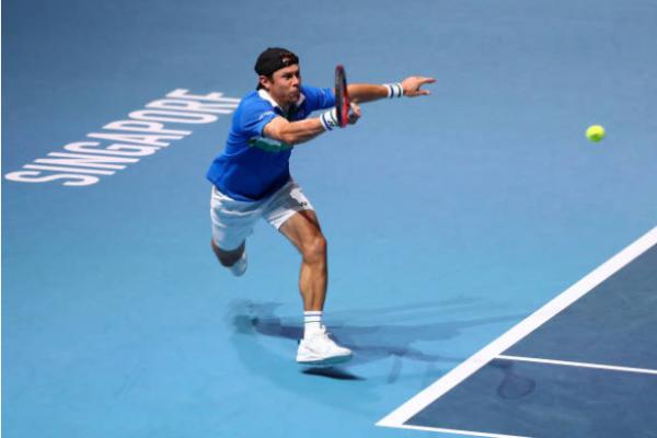 Radu Albot in action at the ATP Singapore Tennis Open